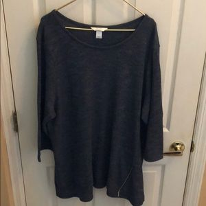 CJ Banks NWT  gray blue sweater tunic size 3X CUTE